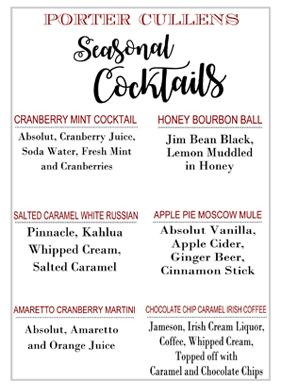 Porter Cullens Seasonal Cocktails